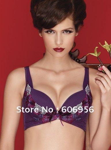 Free shipping wholesale 3pcs/lot Guaranteed100%n-nylon spandex plus size bra , Embroidered-lace Uplift Bra(purple)(China (Mainland))