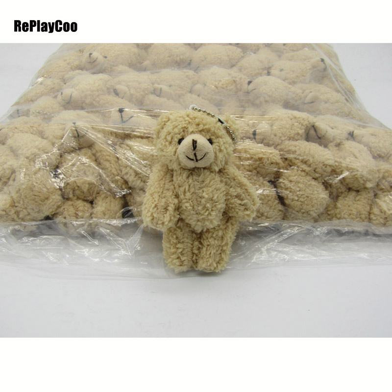 25PCS/LOT Kawaii Small Joint Teddy Bears Stuffed Plush With Chain 12CM Toy Teddy-Bear Mini Bear Ted Bears Plush Toys Gifts 08901(China (Mainland))