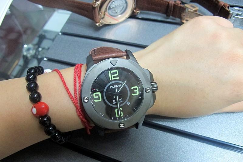 47 мм Парнис Модные 21 Драгоценности Автоматическая Сапфировое стекло Часы с 4 Цветов