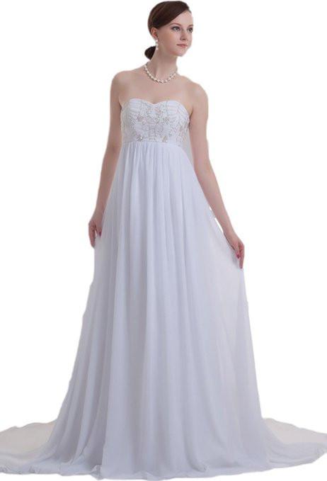 Custom size bride gown a line gown sweetheart empire waist for A line empire waist wedding dress