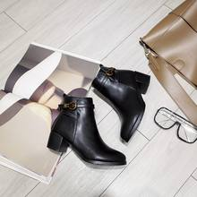 EGONERY punk frauen schuhe grün grau schwarz zipper 4,5 cm heels booties casual stiefeletten winter kampf stiefel plus größe(China)