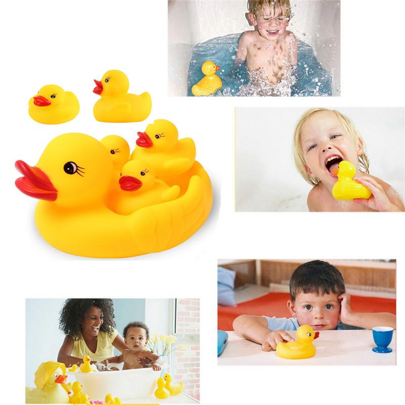 6pcs /Set Cute Baby Girl Boy Bath Bathing Classic Toys Rubber Squeaky Ducks Set Yellow Bathroom Baby Toys 0-12 Months(China (Mainland))