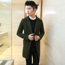 Free Shipping 2015 autumn winter style slim men's casual turn-down collar long sleeve wool & blends(China (Mainland))