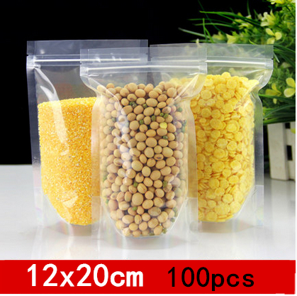 12x20cm 100pcs Reclosable stand up clearly can be heat sealing pack bags/ Plastic packaging spices,candy,tea,nuts,etc pouchs(China (Mainland))