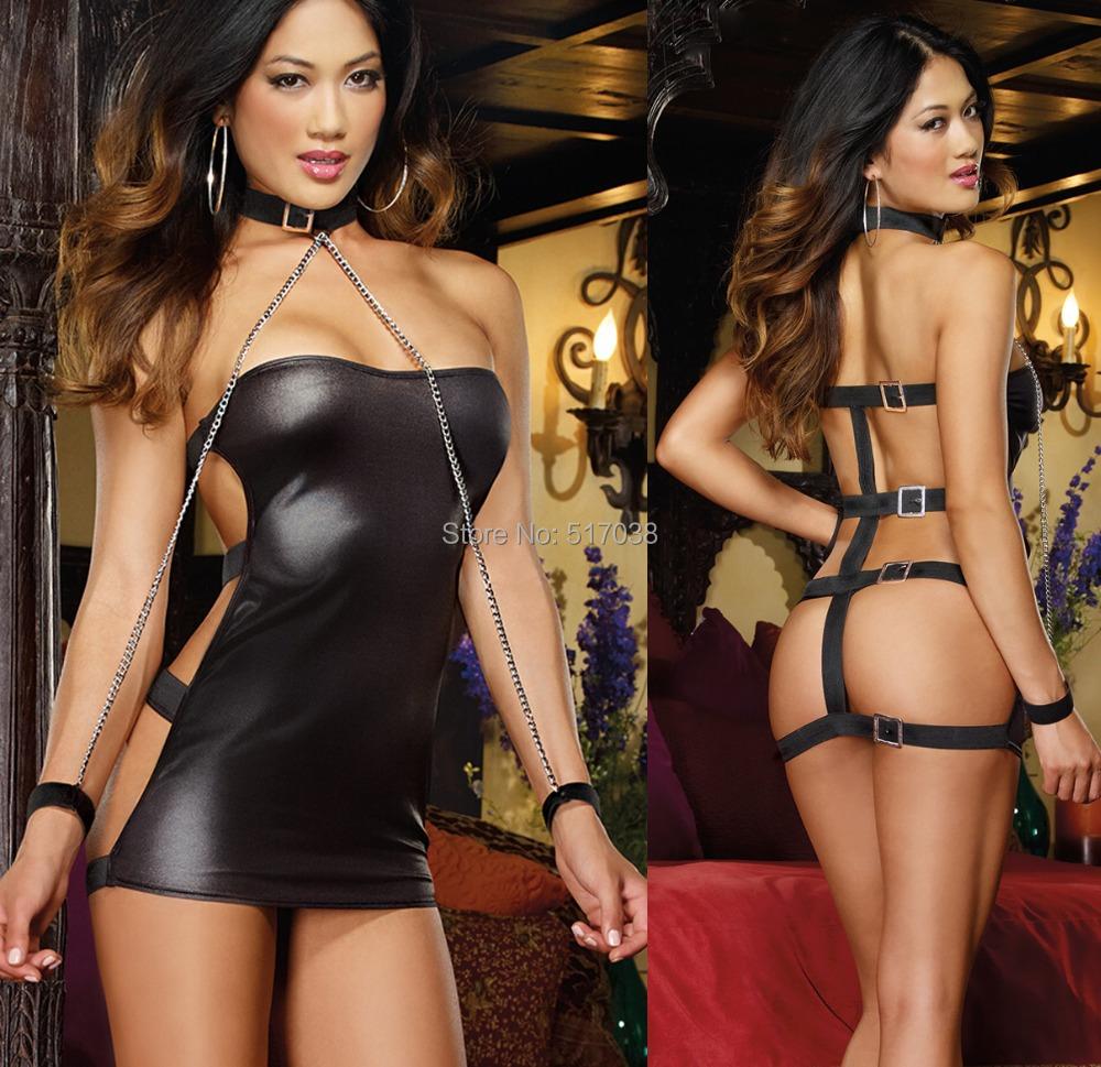 Women's Faux leather Sexy Club Bondage Dress Set Exotic dancewear costume lingerie sex collar harness handcuff neck restraints(China (Mainland))