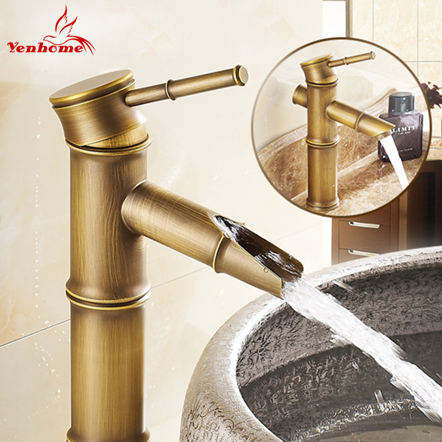 New Home Decoration Single Handle Bathroom Sink Mixer Faucet Vintage Bamboo Bath Tap Antique Faucet Brass Hot/Cold Water YS-005(China (Mainland))