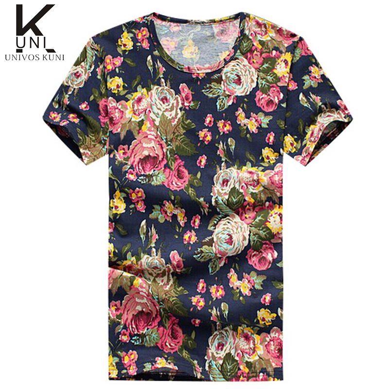Men T Shirt Brand New Fashion 2015 Male t-shirt Floral Print Casual Slim Fitness Sport Top Tee Homme Plus Size 5XL FHY279 - MAN'S CHARM Store store