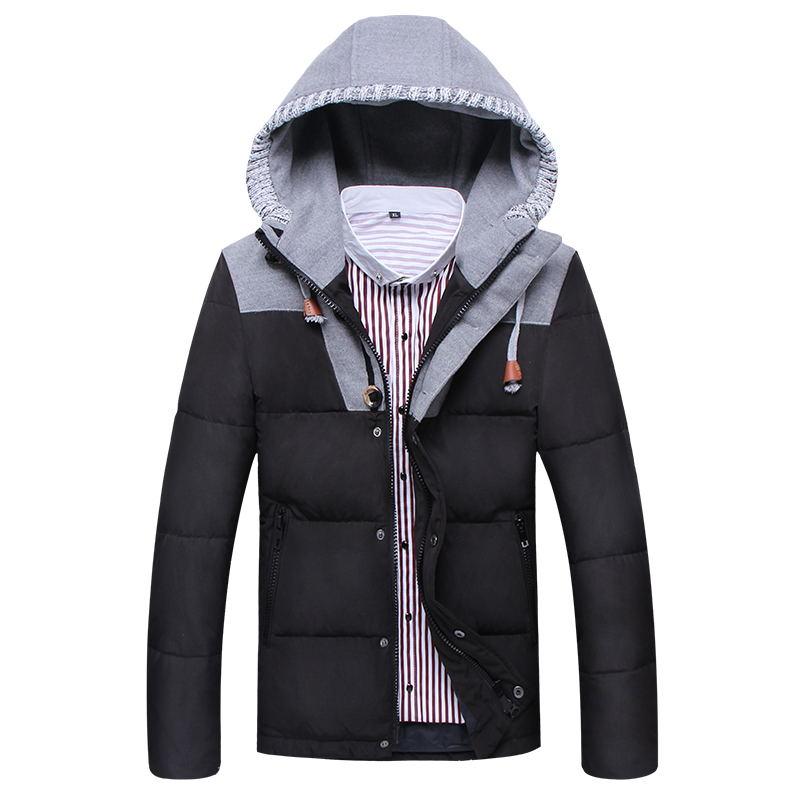 New 2015 down winter jacket men patchwork parka winter coat men slim down jacket men canada
