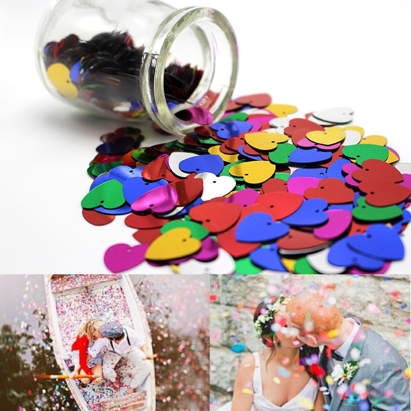 500pcs pack multi color shine romantic sparkle love heart for Deco table multicolore