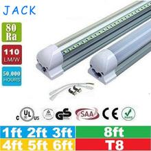 25pcs 1ft 2ft 3ft 4ft 5ft 6ft 8ft T8 Led Tubes Light 18W 22W 28W 36W 45W Integrated Led Fluorescent Tube Lamp AC 110-240V(China (Mainland))
