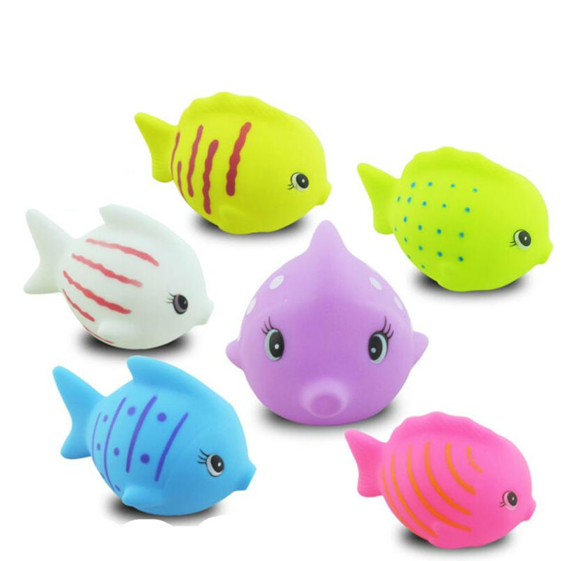 Toys For Fish : Pcs set cute soft rubber fish squeeze sound baby wash