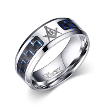 Cool Men Masonic Rings Stainless Steel Wedding Rings for Men Jewelry With Blue & Black Carbon Fiber 8mm Wide Rings Jewelry(China (Mainland))