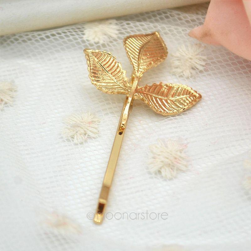 2015 Fashion hair pin Gold Textured Olive Leaf Hairpin Bridal Jewelry Hair Clip Hair Pin Hairwear XSS0024(China (Mainland))