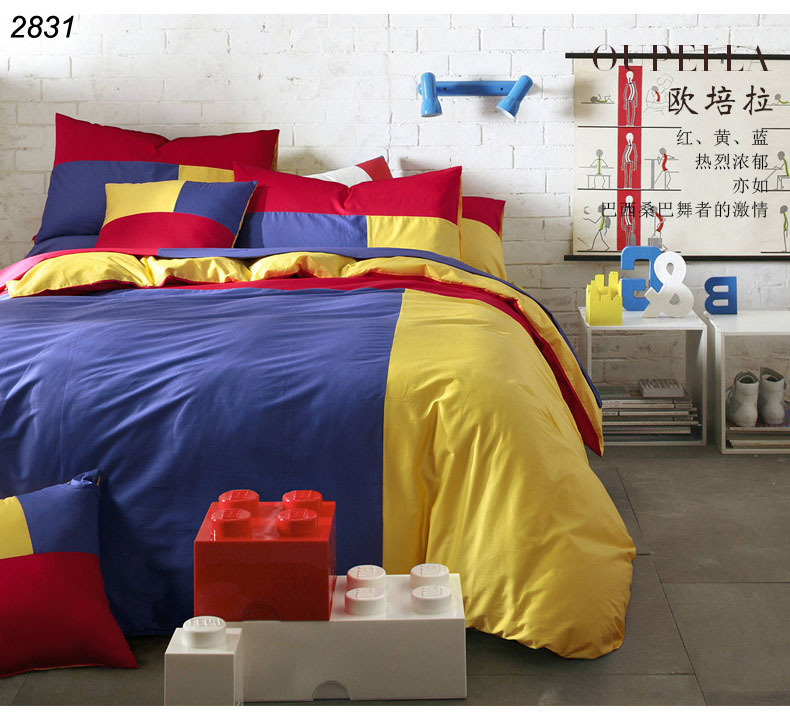 Blue yellow red solid colors bedding set 3pcs 4pcs bed set - Blue and yellow bedding sets ...