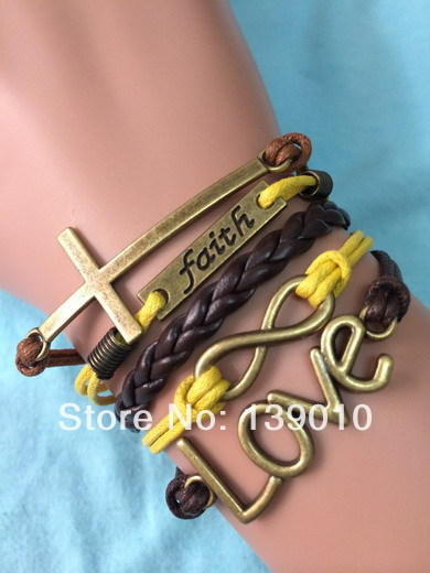 Free Shipping!3PCS/LOT!Braided Colorful Leather Rope Infinity LOVE Cross Faith Bracelet 2013 Arm Cuff Jewelry For Women U-455(China (Mainland))