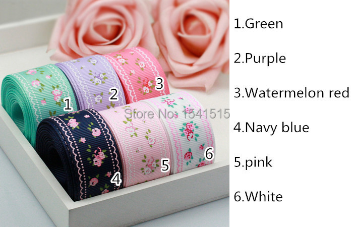 "5yard 1"" 25mm Quality Garden Floret Grosgrain Ribbon Craft supplies Wholesale 152#(China (Mainland))"