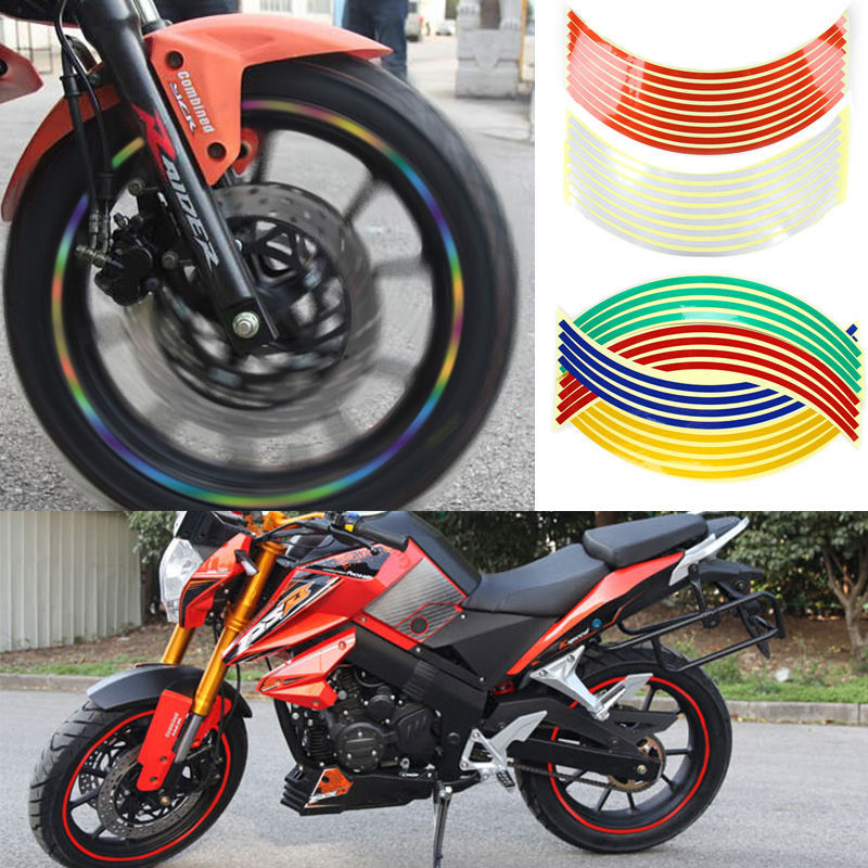 "16 Pcs Strips Wheel Sticker 18"" Reflective Rim Tape Bike Motorcycle Car Tape 7 Colors Z1(China (Mainland))"