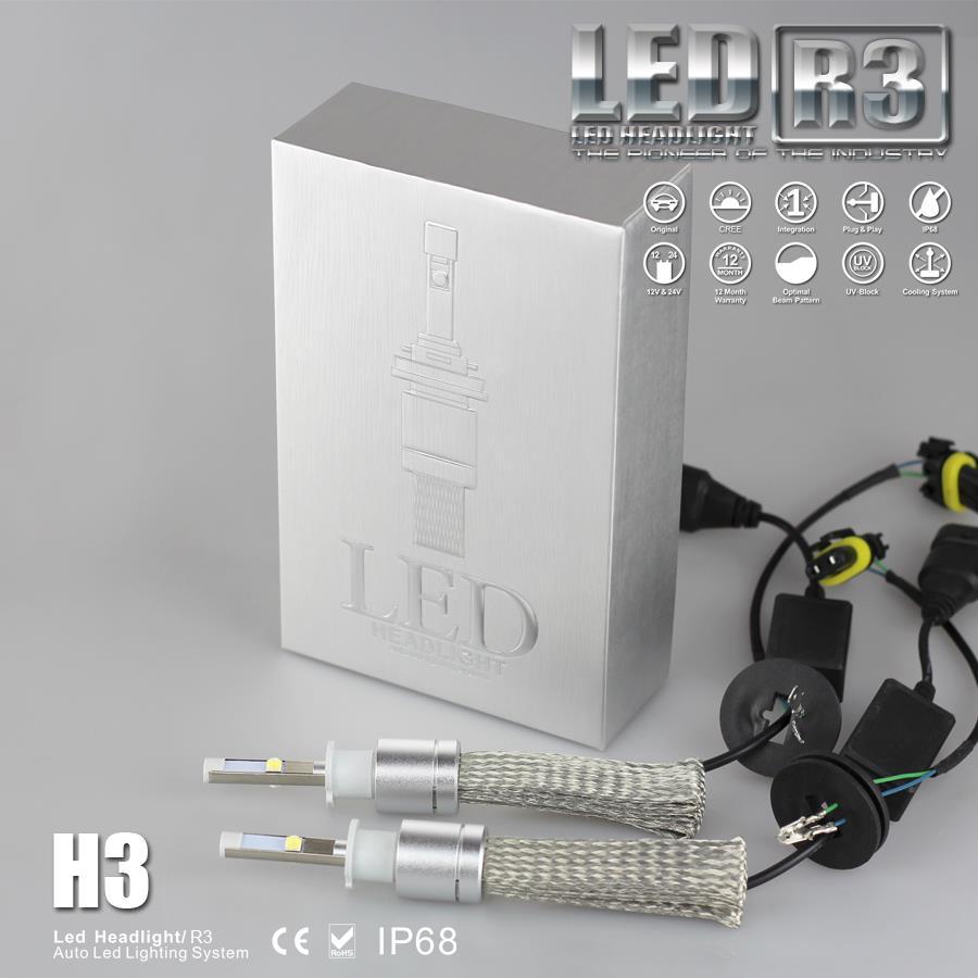 1set  40W 4800lm H3 headlight  6000K  LED Headlight Lamp  HIGH POWER AUTO Cree  LED Bulb LAMP Waterproof FOR CAR HEADLIGHT