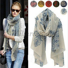 Elegant China Style Design Ceramic Decorative Pattern New Fashion Women Girl's Long Scarf Warp Shawl Chiffon S46(China (Mainland))