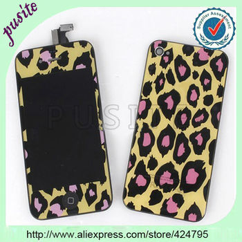 wholesale stylish leopard skin LCD(LCD+touch screen with digitizer+button +frame+back cover)