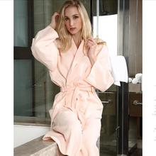 100% Cotton Long-sleeved Robe For Men And Women 2015 New Autumn Season Couple Bathrobe Long Style Solid camisola size XXL(China (Mainland))