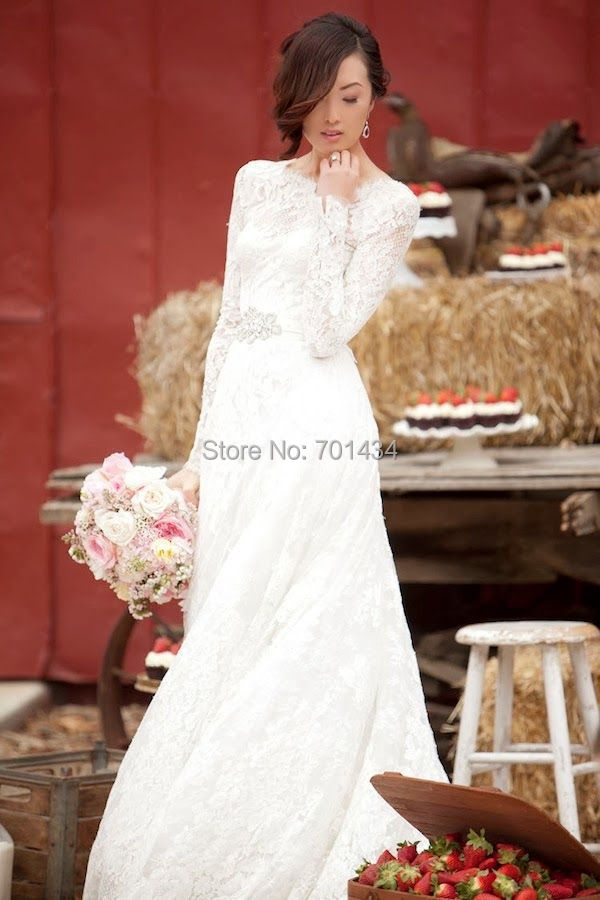 Modest Round Neck Long Sleeves Lace Dresses Wedding Beaded Belt A Line Winter