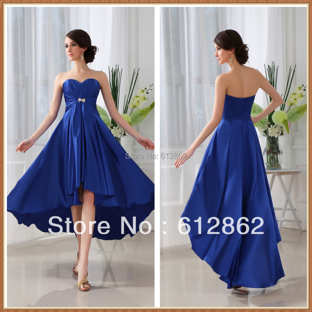 Buy strapless sweetheart front short long for Royal blue short wedding dresses