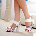 2017 Printed Flowers High Heels Women Sandals Sequined Ankle Strap Summer Dress Shoes Open Toe Party
