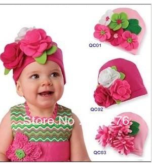 Free shipping! New style retail fashion baby hat,flower kid's hat princess kid's hat with big flower,chirldren flower hat