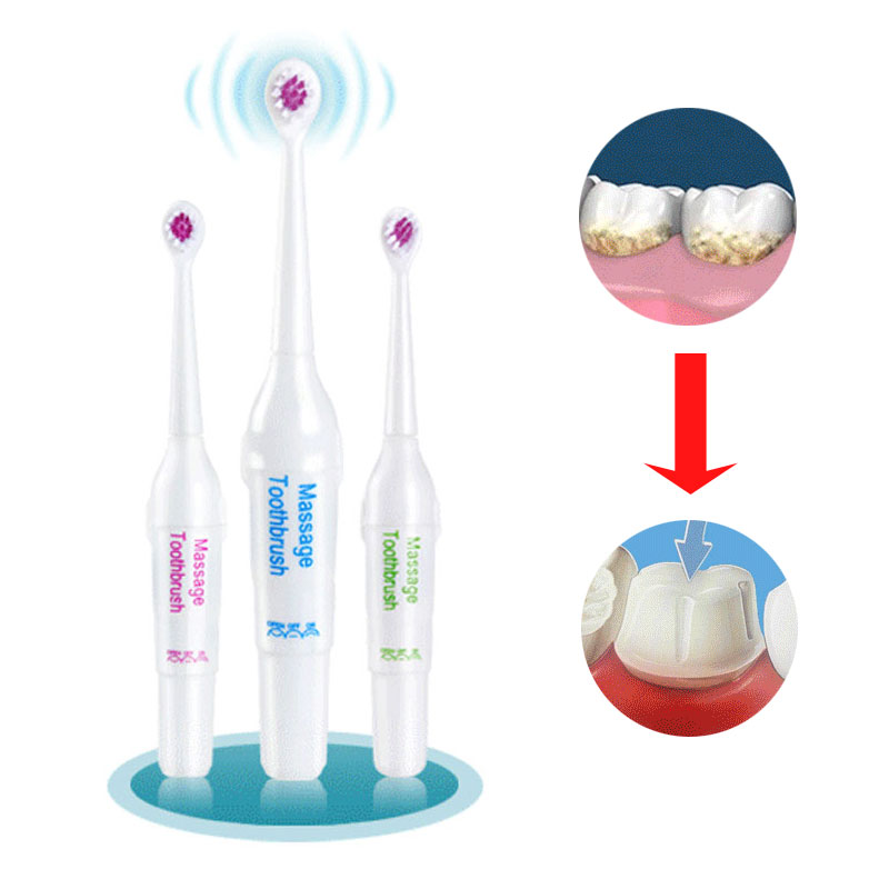 1 Conjunto massagem Ultra-sônica escova de dentes Elétrica com 2 cabeças intercambiáveis suave Clareamento Dos Dentes Para Homens Ou Mulheres #83504