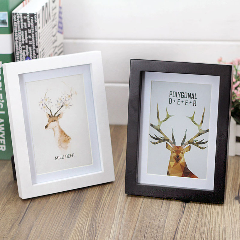 Wooden Deer Photo Frame Mystery of White and Black Modern Picture Frame Simple Desktop decoration Creative Gift Disply photos(China (Mainland))