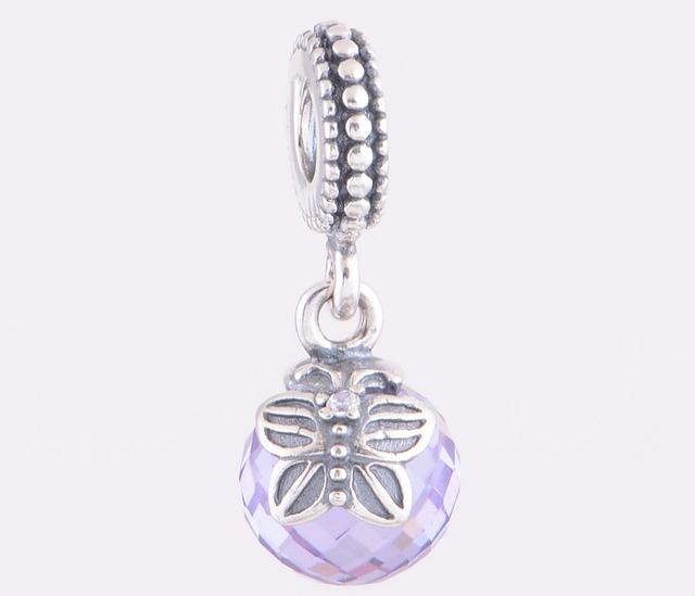 Подходит пандоры подвески браслеты подлинная стерлингового серебра 925 мотаться бусины бабочка с фиолетовый кристалл европейский шарм DIY ювелирных изделий