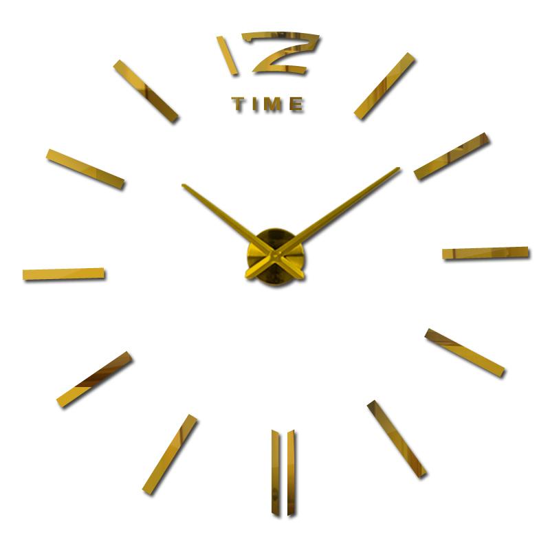 2016 new arrival 3d home decor quartz diy wall clock clocks horloge watch living room metal Acrylic mirror 20 inch free shipping(China (Mainland))