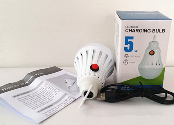 FCC CE RoHS 5W LED Emergency Light Rechargeable Bulb Lamp Rechargeable Led Light Bulb(China (Mainland))