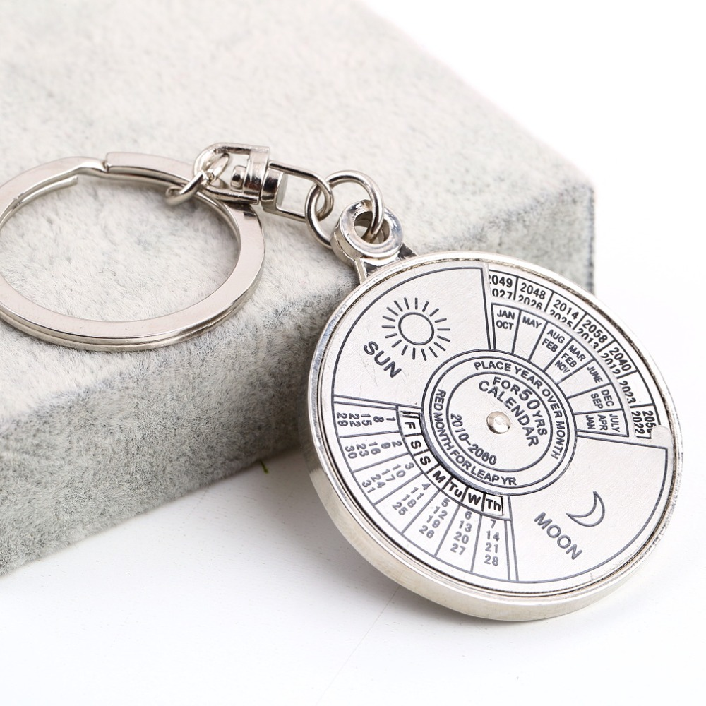1Pcs Super Perpetual Unique Metal Ring 50 Years Perpetual Calendar Key Chain new sale(China (Mainland))
