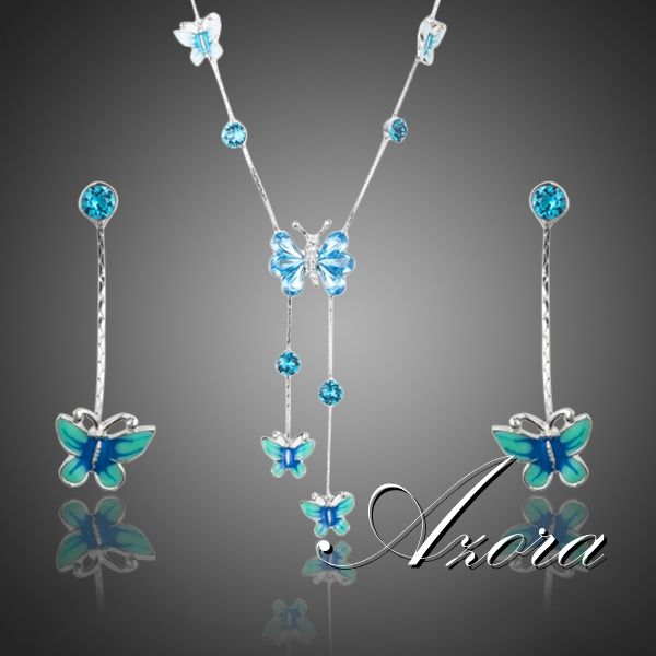 AZORA Elegant Stellux Austrian Crystal Butterfly Oil Painting Pattern Drop Earrings and Pendant Necklace Jewelry Set TG0190(China (Mainland))