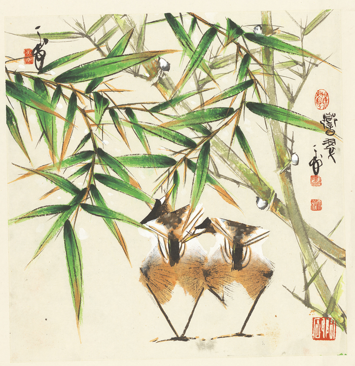 Chinese impression bird bamboo winter scenery oil painting canvas printings printed on canvas home wall art decoration picture