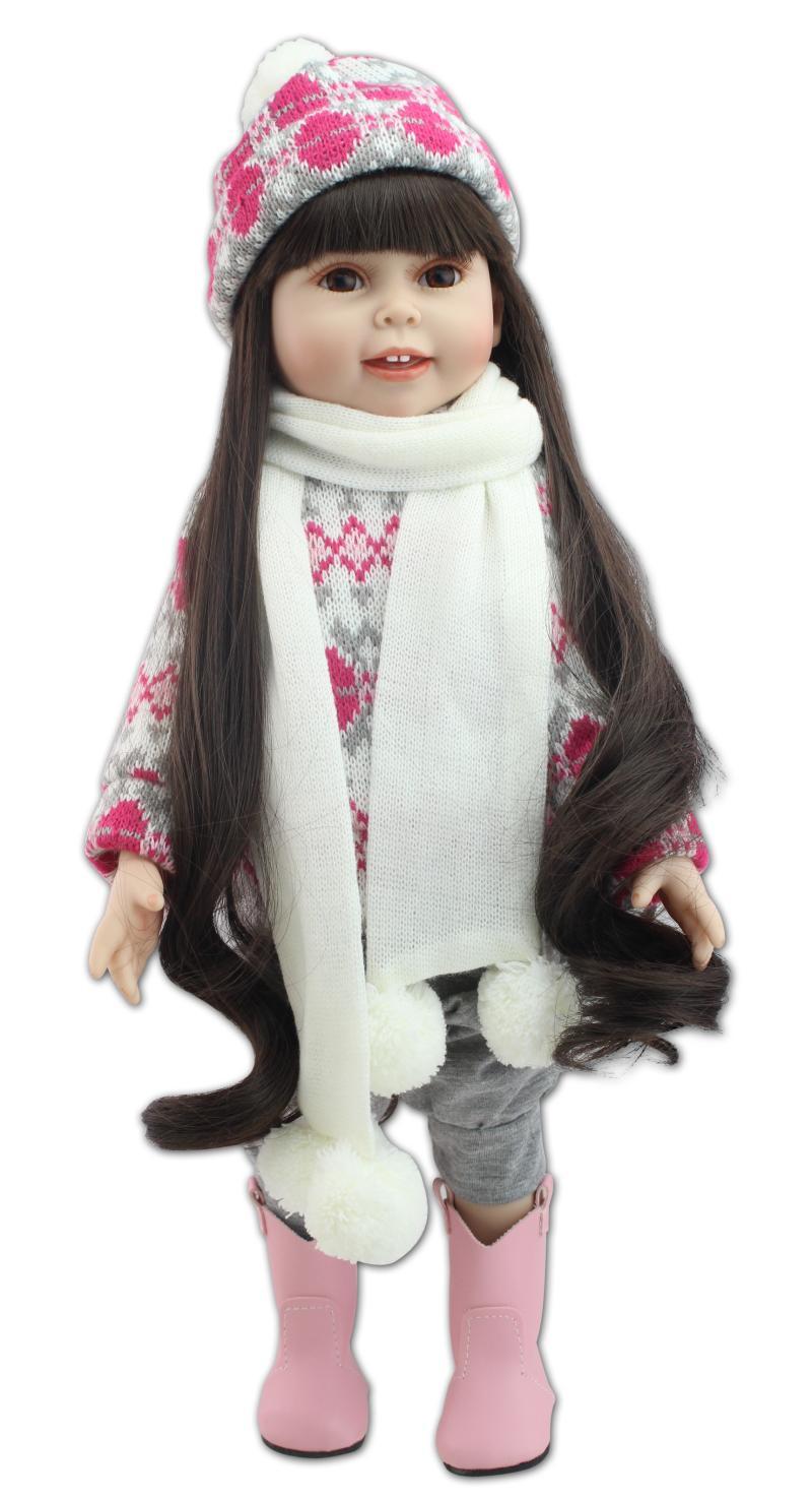45cm New Vinyl Reborn Baby Doll Toys Lifelike American Girl Dolls Princess Baby Home Doll Girl Brinquedos Babies's Gifts