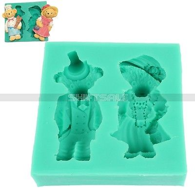 Free Shipping 3D Baker Chef Boy Girl Teddybear Silicone Mold Fondant Cake Pastry Soap Clay Mat 2015 New Arrival Promotion(China (Mainland))