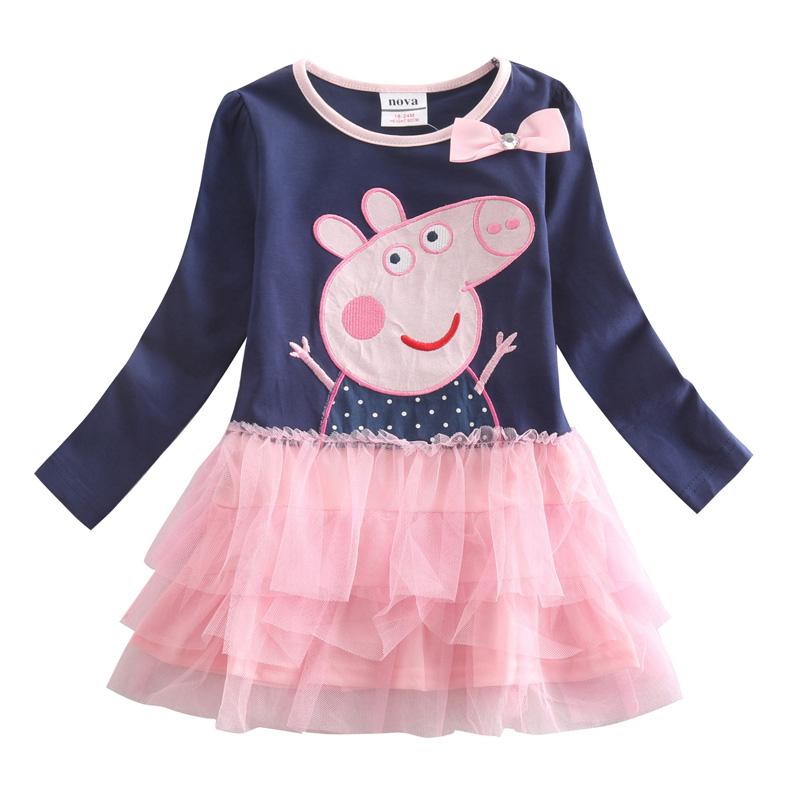Princess Girls dresses Nova kids wear child frocks Long Sleeve Cartoon Character mesh Spring Autumn baby girl dress clothes