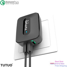 TUTUO Quick Charge 3.0 Fast USB Wall Charger Portable Travel 3 Ports USB Smart Charger US EU Plug for Xiaomi iPhone 7 Power Bank(China (Mainland))