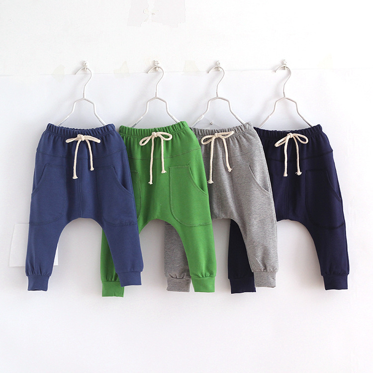 Hot selling size90~130 2016 solid children pants for boys trousers girls harem pants candy kids child 5 colors(China (Mainland))