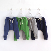 Hot selling size90~130 2015 solid  children pants boys trousers girls harem pants  candy child 5 colors(China (Mainland))