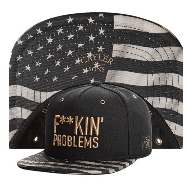 Cayler & Sons F**KIN FUCKIN problems gold letter star Snapback hats men's designer baseball caps BREAK BREAD pray Last Supper(China (Mainland))