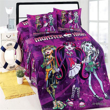 mavelous monster high girls twin/single size cotton bedding set of duvet cover bed sheet pillow case 2/3pcs kit