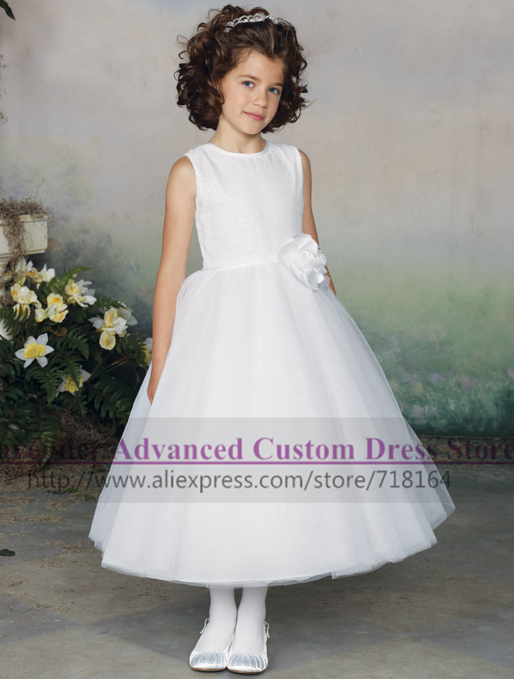 2016 Winter New Girls Flower Dress For Wedding Party Cute