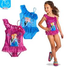 Summer Girls Swimwear Cute Anna Elsa Bikini Swimsuit Kids Ruffled Swimming Suit For Girl Children Bathing Suit Maillot De Bain