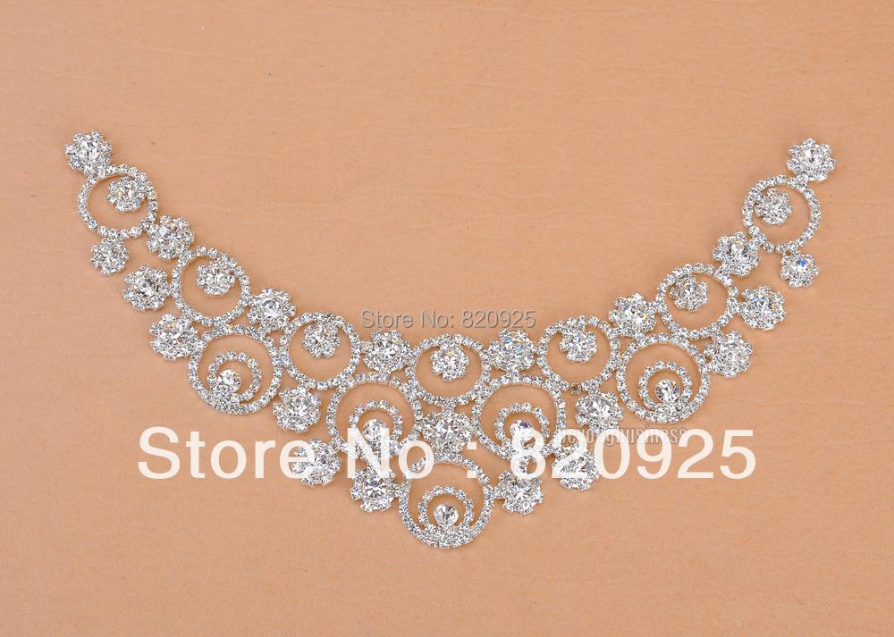 1 X Clear Crystal Rhinestone Applique Silver Motif Bridal Costume Collar Craft(China (Mainland))