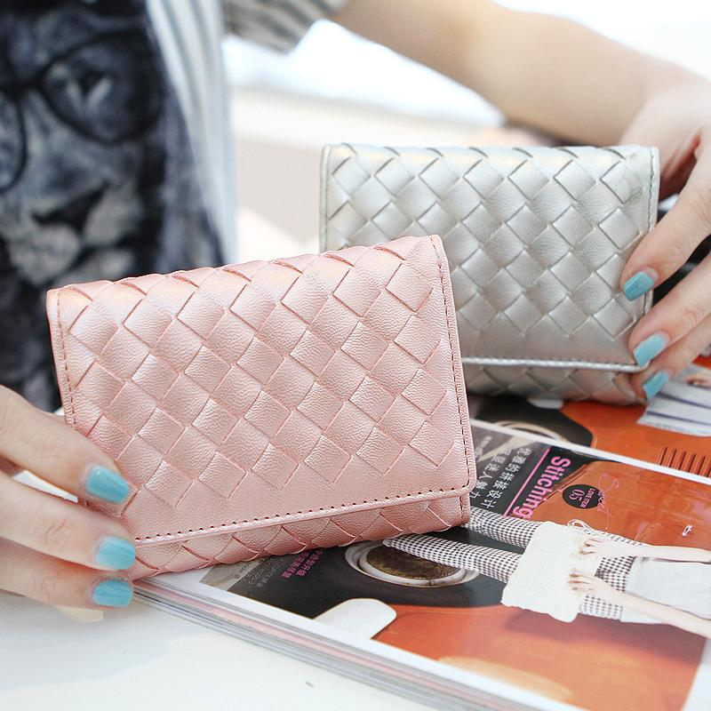 2015 New Fashion ladies short wallet woven mini purse high quality wallet designer women(China (Mainland))