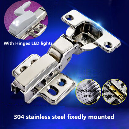Hydraulic buffer 304 Stainless steel fixedly mounted furniture hinge three types kitchen cabinet hinges with LED light(China (Mainland))